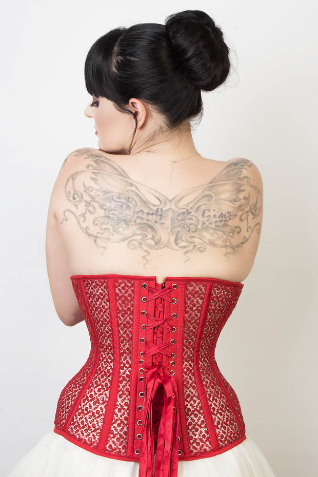 Mesh with Lace Overlay Underbust Corset