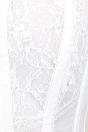White Mesh with Lace Overlay Bridal Corset