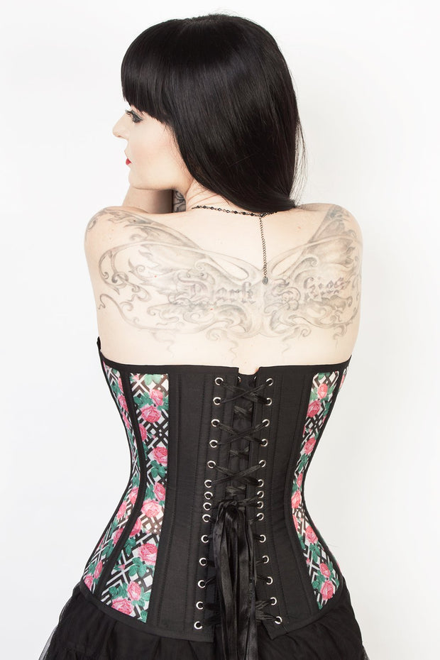 Floral Print Mesh Overbust Corset