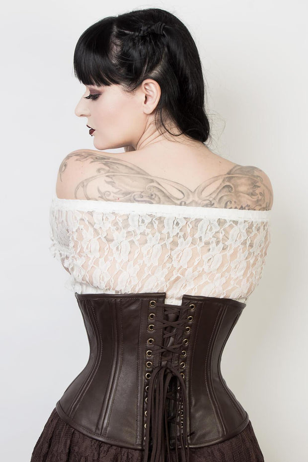 Steel Boned Brown Leather Waist Trainer Corset