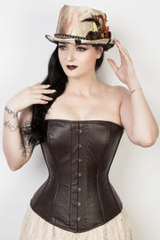 Brown Leather Waist Reducing Corset