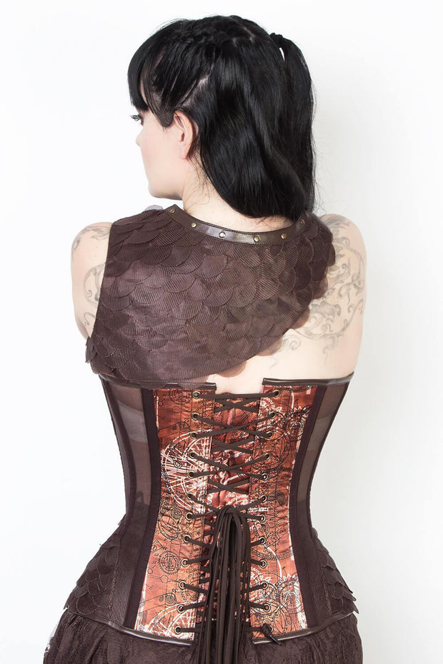 Steampunk Print Mesh Overbust Corset with Shrug