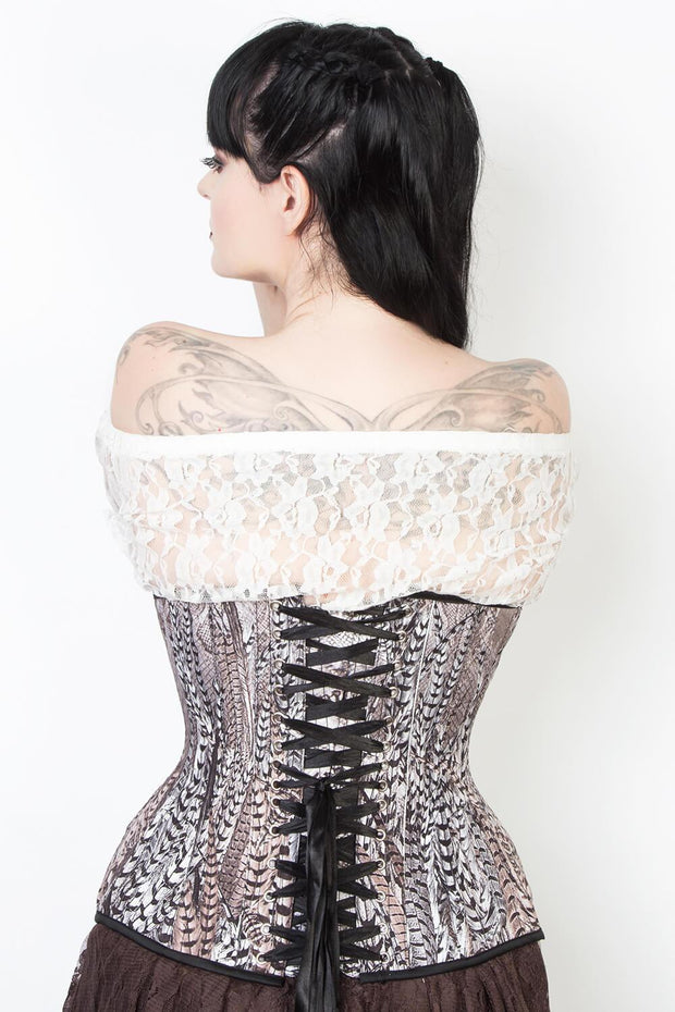 Feather Print Waist Reducing Corset