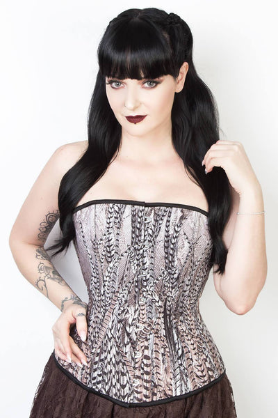 Longline Overbust Feather Print Corset