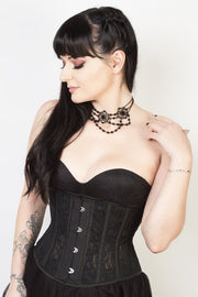 Underbust Black Mesh with Lace Waspie Corset