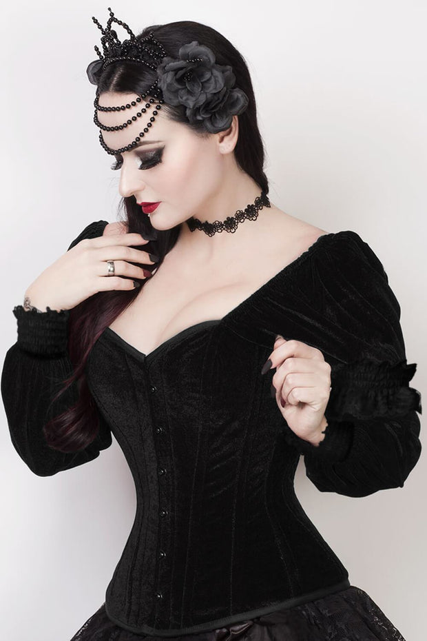 Agostina Gothic Overbust Corset with Attached Sleeve
