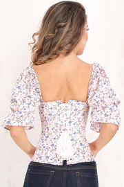 Zaina Overbust Floral Summer Corset with Attached Sleeve