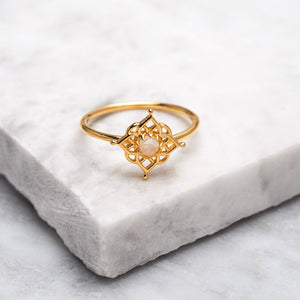 Gold Mandala Moonstone Ring