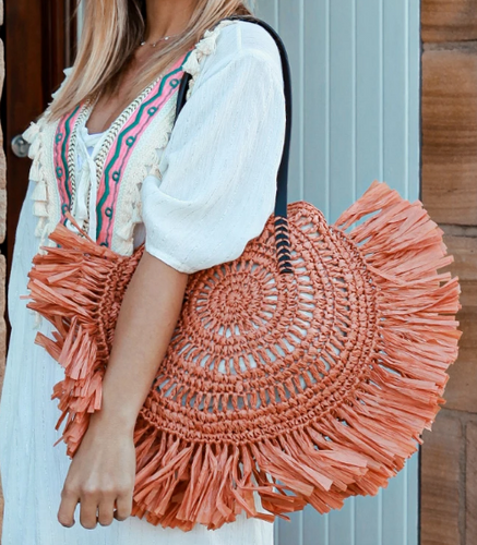 Straw Beach Bag - Salmon