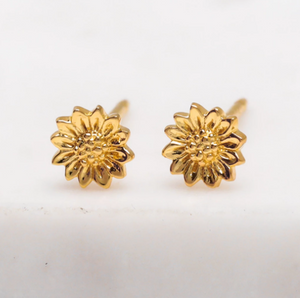 Tiny Sunflower Studs - Gold