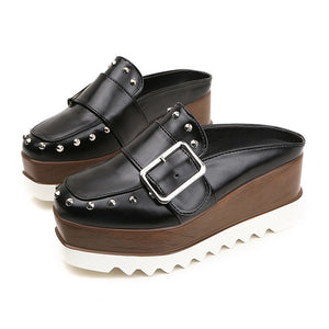 Women Leather Shoes High Platform Wedges