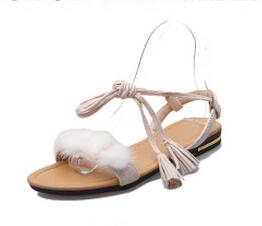 Real Fur Ankle Strap Gladiator Sandals Women Flats 2018