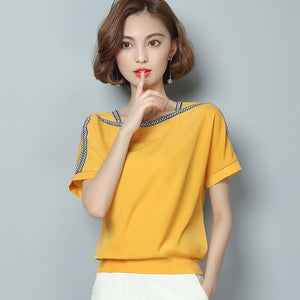 blouse short sleeve women tops chiffon
