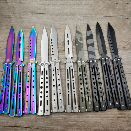 knife butterfly Stainless Steel Training Knife folding titanium