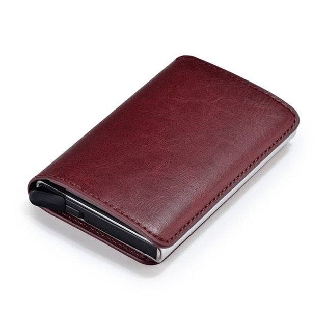 Vintage Aluminum Wallet PU Leather Antitheft