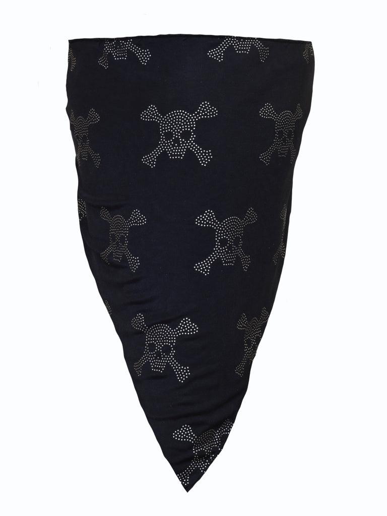 Black Skull Bandana with White Rhinestone Skulls