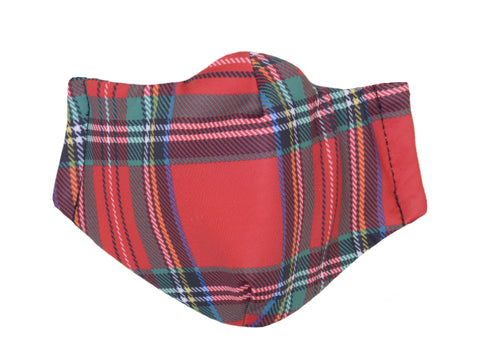 M11 Tartan Red Plaid Mask Scarf Set