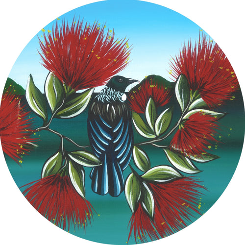 Indoor/Outdoor Art Circle Tui & Pohutukawa