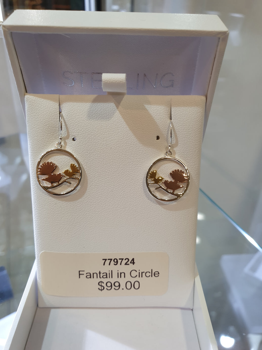 Sterling silver Fantail mum and baby Earrings