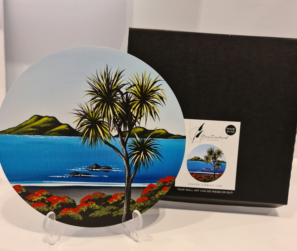 NZ Art Designs Art Circle 'Coastal Cabbage Tree'
