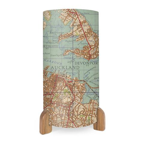 Table Lamp with Rimu Feet - Vintage Auckland Map