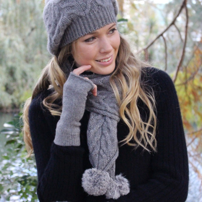 Lothlorian Cable Pom Pom Slouch Beanie