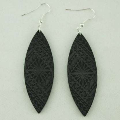 SoNZ Samoan Tapa Point Earring In Black
