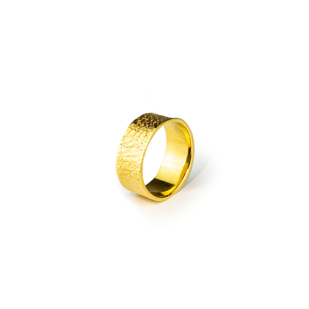 Conor Joseph, Wide Gold Skin Textured Ring