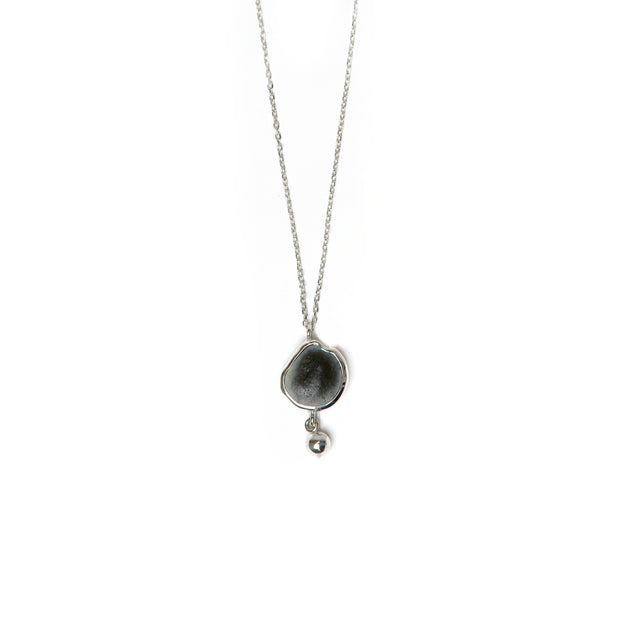 "Emily Frances-Barrett, Flint drop Pendant w/ 20"" 925 Silver box Chain with a Lobster clasp"