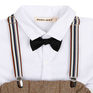 4-piece White Shirt And Suspender Pants With Hat, zoerea.com