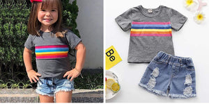 Rainbow Short-sleeve Top And Ripped Denim Shorts Set, zoerea.com