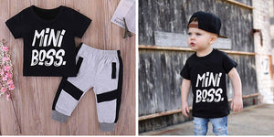 MINI BOSS Print Tee and Casual Pants Set - zoerea.com