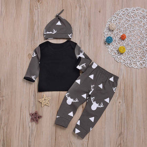 3-piece Elk Triangle Patterned Long Sleeve Top, Bottom and Hat Set, zoerea.com