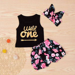 WILD ONE Tank, Floral Shorts And Headband Set, zoerea.com