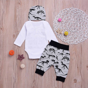 3-piece BABY BROTHER Print Bodysuit, Dinosaur Pants And Hat Set, zoerea.com