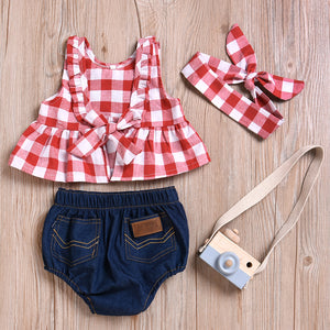 3-piece Plaid Style Top and Denim Shorts with Headband Set, zoerea.com