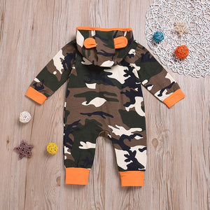 Baby Boys' Street Chic Camouflage Print Long Sleeve Cotton Romper, zoerea.com