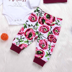 4-piece ' Daddy's Princess' Bodysuit and Floral Print Pants, Hat, Headband, zoerea.com