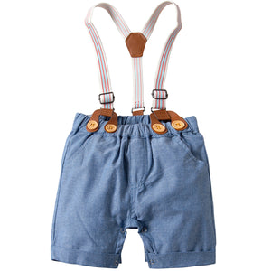 2-Piece Baby Boys Gentleman Romper Bodysuit, Short Sleeves, Short Pants, zoerea.com