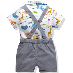 Lion Print Shirt Bodysuit and Suspender Shorts Set, zoerea.com