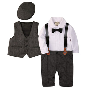Handsome Faux-two Bodysuit & Vest & Hat Set, zoerea.com