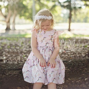 Kid Baby Girls Lace Cartoon Unicorn Party Pageant Tutu Dress Sundress, zoerea.com