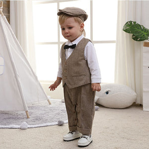 4T 4 Piece Formal Boy White Bow Tie Vest Set Suit 0 month to 7 years