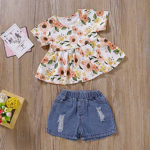 Stylish Floral Print Top And Denim Shorts, zoerea.com