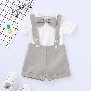 2-piece Solid Gentleman Romper And Shorts Set, zoerea.com