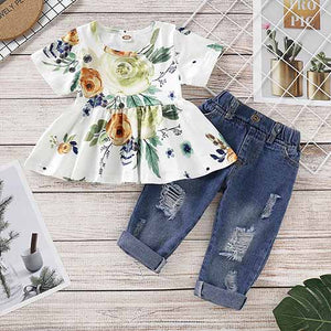 Floral Short-sleeve Top And Jeans Set, zoerea.com