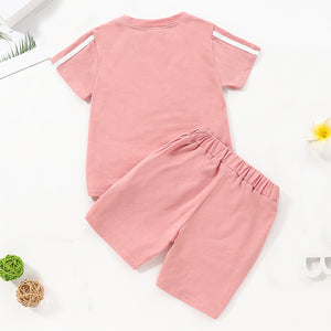 Toddler Baby Unisex Basic Solid Short Sleeve Regular Cotton Clothing Set, zoerea.com