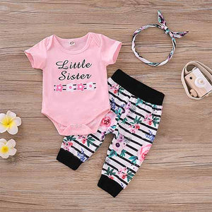 3-piece Flower Print Bodysuit and Striped Pants Set, zoerea.com