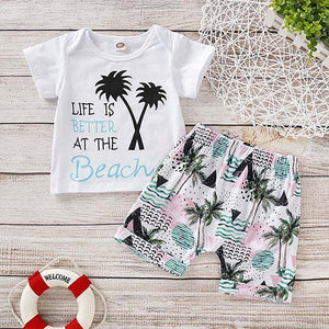 Letter Print Short-sleeve Tee And Floral Shorts Set - zoerea.com