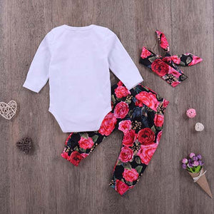 Long-sleeve Bodysuit, Floral Print Pants Set, zoerea.com